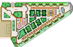 Landscaping details of garden with sports field dwg file