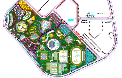 Landscaping details of hotel with sports ground dwg file
