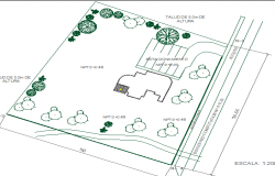 Landscaping details of office building dwg file