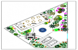 Landscaping details of private house garden dwg file