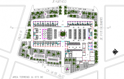 Landscaping details of shopping mall with layout plan details dwg file