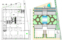 Landscaping details with ground floor of office building dwg file