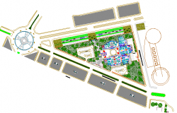 Landscaping details with site plan of city shopping mall dwg file
