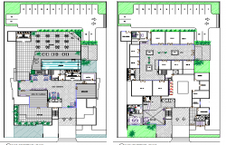 Landscaping details with structure layout plan of office building dwg file
