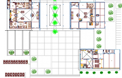 Landscaping details with structure of municipality building dwg file