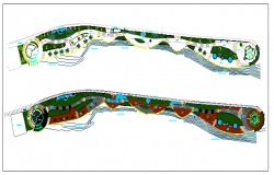 Landscaping details with structure of public garden dwg file