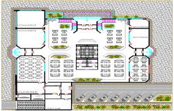 Landscaping details with structure of tour-ecologic center dwg file