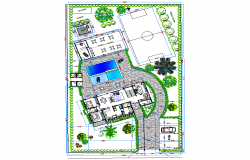 Landscaping layout house plan detail dwg file
