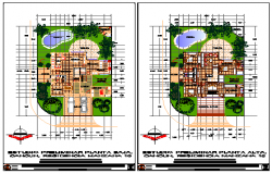 Landscaping layout of Bungalow design drawing