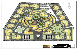 Landscaping layout of Housing complex design drawing