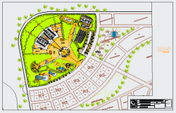 Landscaping layout of Sport center design drawing