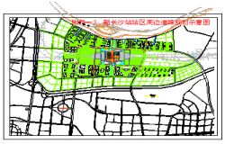 Landscaping layout, road planning around the station area design drawing