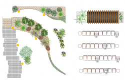 Landscaping plan residential garden detail 2d view layout file