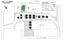 Landscaping plot layout detail autocad file