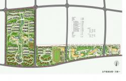 Landscaping structure and site plan details of residential colony psd file