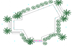 Landscaping view details of corporate office dwg file