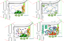 Landscaping view of multi-purpose building with car parking lot dwg file