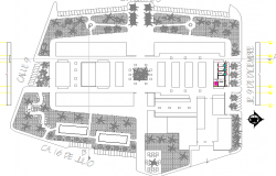 Landscaping view with general layout plan of shopping mall dwg file
