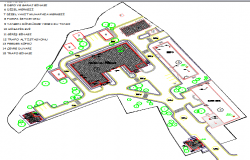 Landscaping view with site plan of office building dwg file