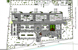 Landscaping view with structure layout details of shopping mall dwg file