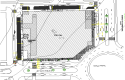 Landscaping with site plan details of shopping center dwg file