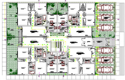 Landscaping with site plan details residential apartment dwg file