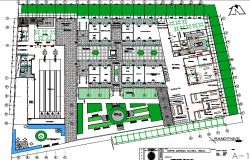 Landscaping with structural layout details of corporate building dwg file