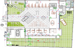 Landscaping structure details of credit agency office details dwg file