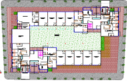 Landscaping with structure details of housing and commercial building dwg file