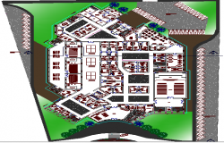 Landscaping with structure details of judiciary office of city dwg file