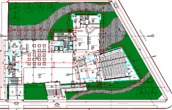 Landscaping with structure details of multi-flooring college building details dwg file