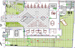 Landscaping with structure details of municipal government office building dwg file