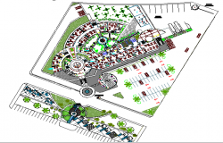 Landscaping with structure details of regional corporate office dwg file
