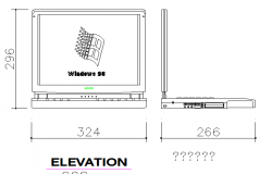 Laptop and computer elevation cad block design dwg file