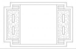 Large wooden window cad block design dwg file