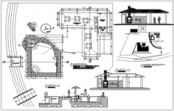 Laser area with pool and barbecue shop of garden dwg file