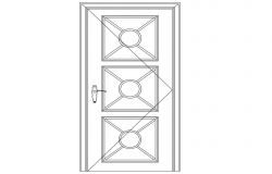 Lattice round door block elevation with furniture view dwg file