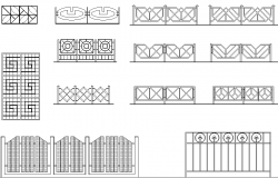 Lattices and fences elevation detail dwg file