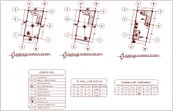 Law office first to third floor plan with door and window schedule and symbol dwg file