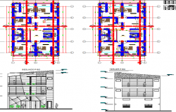 Layout and elevation detail of  a hotel dwg file
