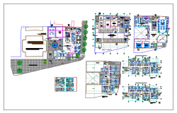 Layout plan and Floor plan of hotel and bar  of each floor dwg file