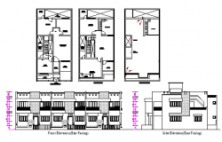 Layout plan and elevation design drawing of apartment