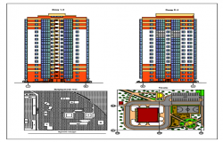 Layout plan and exterior elevation of a residential building dwg file