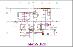 Layout plan of 3 BHK flat dwg file