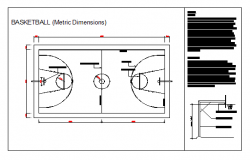 Layout plan of Basket Ball Court design drawing