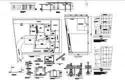 Layout plan of Bungalow 95'0'' x 62'9'' with foundation details in autocad  file