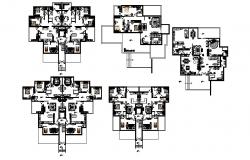 Layout plan of House with furniture in dwg file