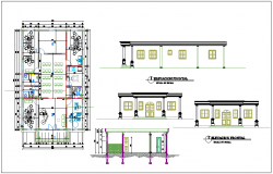 Layout plan of a office,elevation of building dwg file