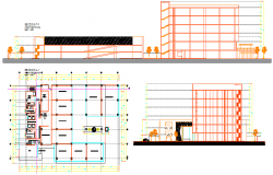 Layout plan of a office  and car parking dwg file