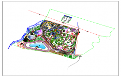 Layout plan of a resort dwg file